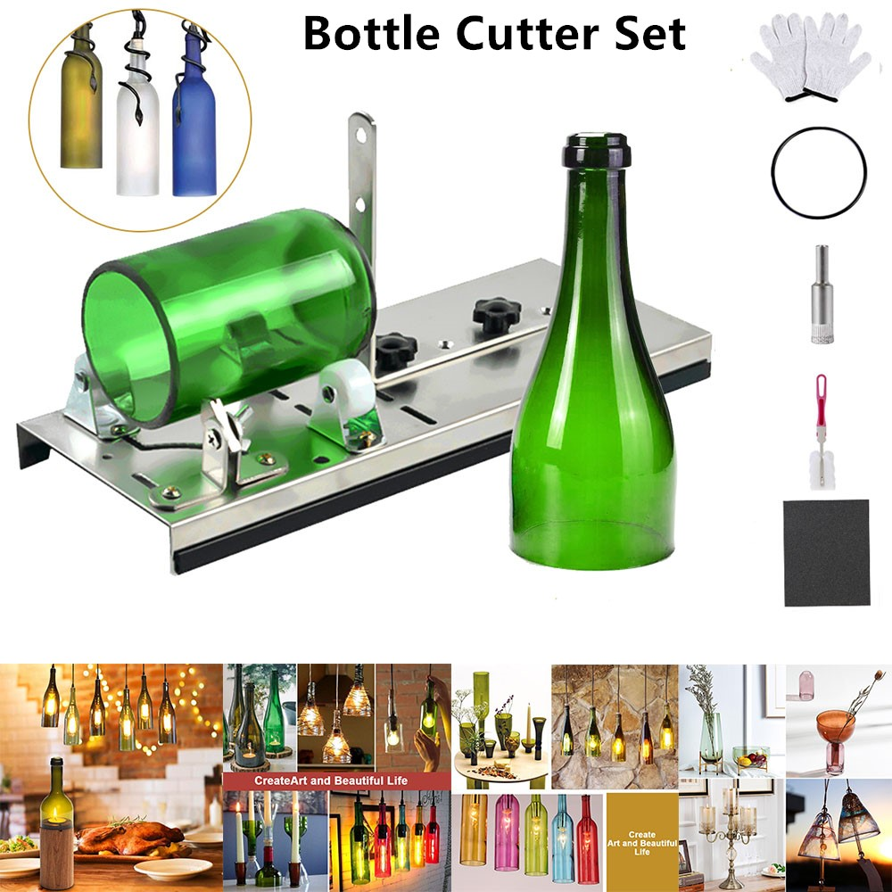 Glass Bottle Cutter Professional DIY Cutting Machine For Wine Beer Whiskey Alcohol Champagne Craft With Gloves Glasses Tool Kit