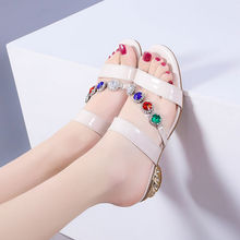 Ladies party sandals sexy rhinestone shoes for women wedges summer shoes 2020 Glitter sandals female shoes sexy flat rhinestone sandals snake style design flip women s sandals crystal decoration lady cute party silver shoes for dress
