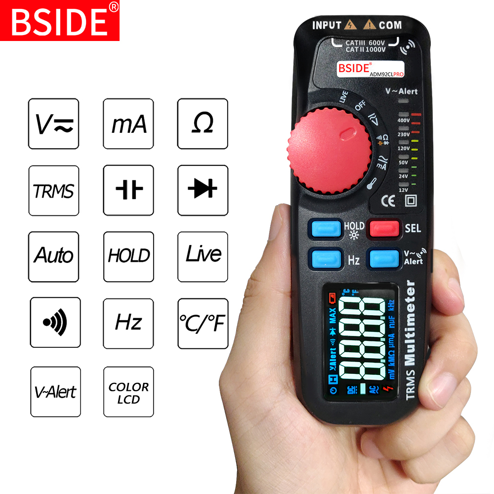 Dual Mode Multimeter Voltmeter BSIDE 92CL PRO Color Display Digital Multimetro Voltage indicator Voltimetro battery Tester Tool