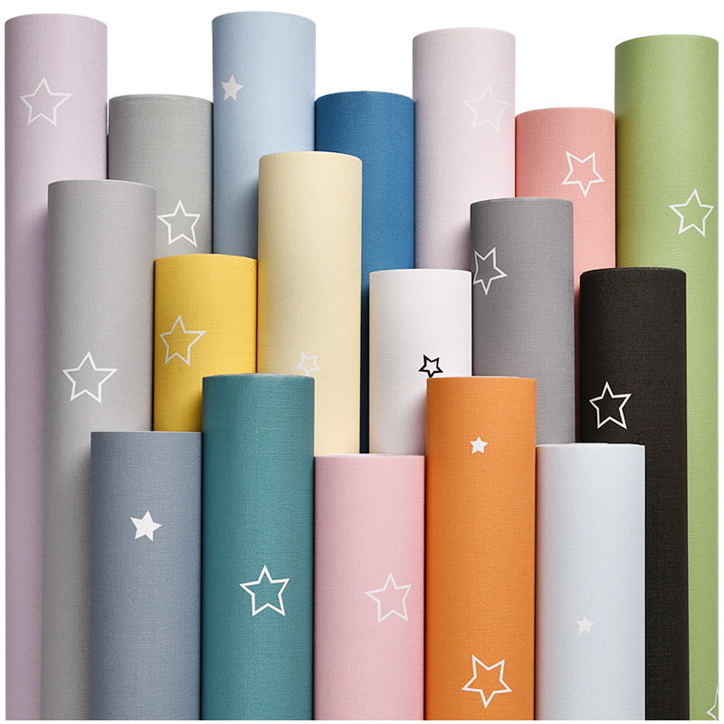 Baby Boy Girl Colorful Star Wallpaper Childs Bedroom Decor Self Adhesive PVC Furniture Wallpapers Kids Mural Cartoon Stars QZ167