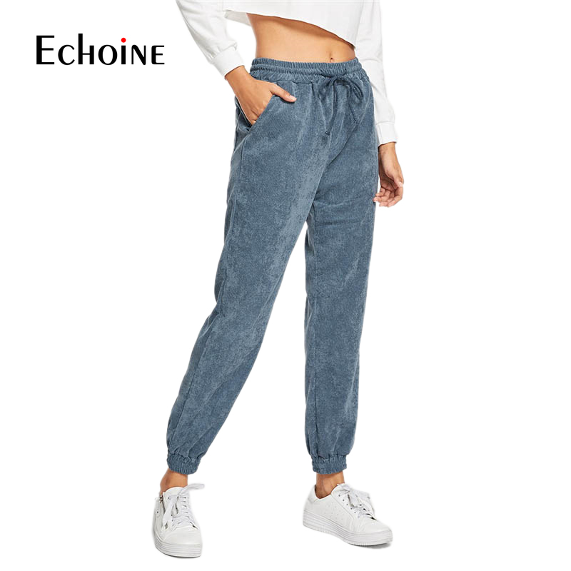 Casual Autumn Winter Drawstring purple navy gray Corduroy Women Pants  Elastic Waist Warm High Waist Loose Female Pant Trousers-in Pants & Capris from Women's Clothing
