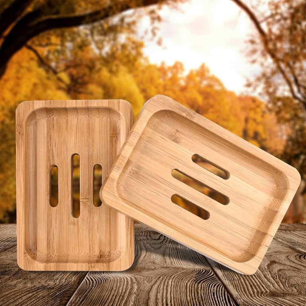 Bandeja jabonera de madera de bambú hecha a mano, 2 uds., soporte para ducha y baño, jabonera