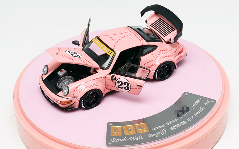 PGM 1:64 Porsche 911 RWB 964 RAUH-Welt Pink Pig 23# Car Model Luxury Pack w//Base