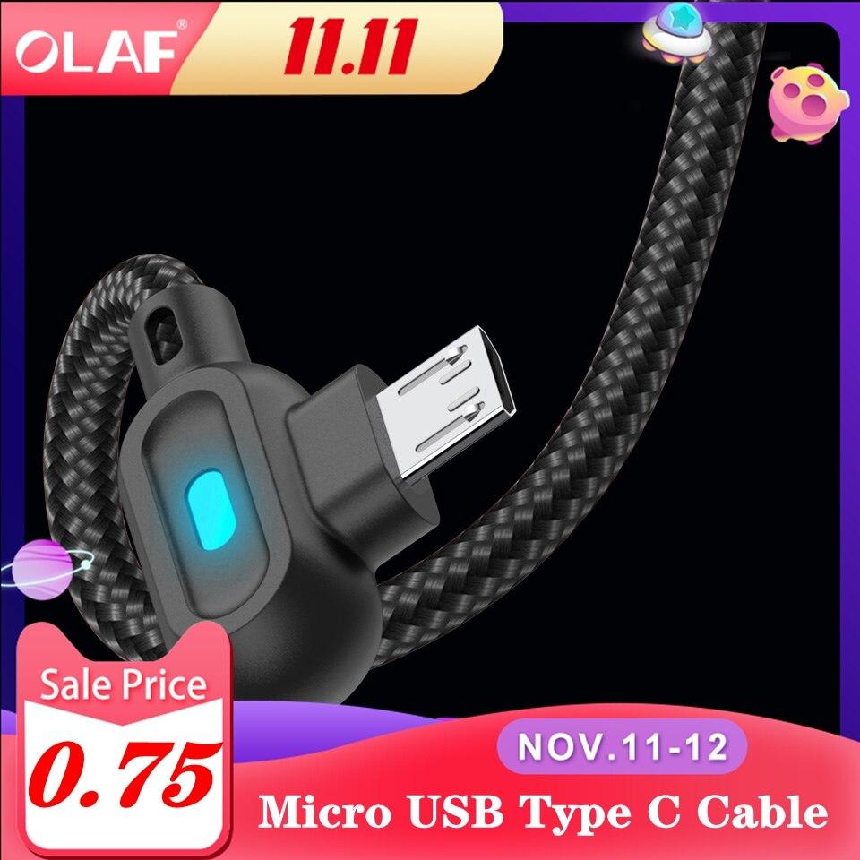 Olaf 90 graus micro usb tipo c cabo de carregamento rápido tipo-c para samsung xiaomi huawei lg android microusb USB-C carregador