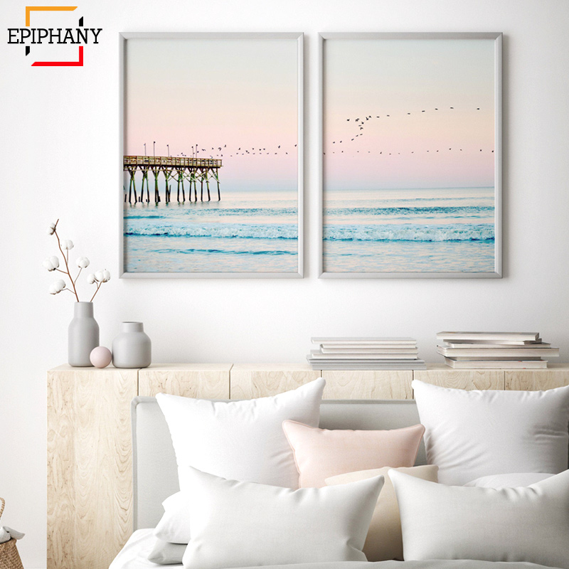 US $1.75 50% OFF|Modern Ocean Print Coastal Wall Art Beach Decor Pastel  Canvas Painting Sunset Bedroom Decor Large Posters and Prints Living  Room-in ...