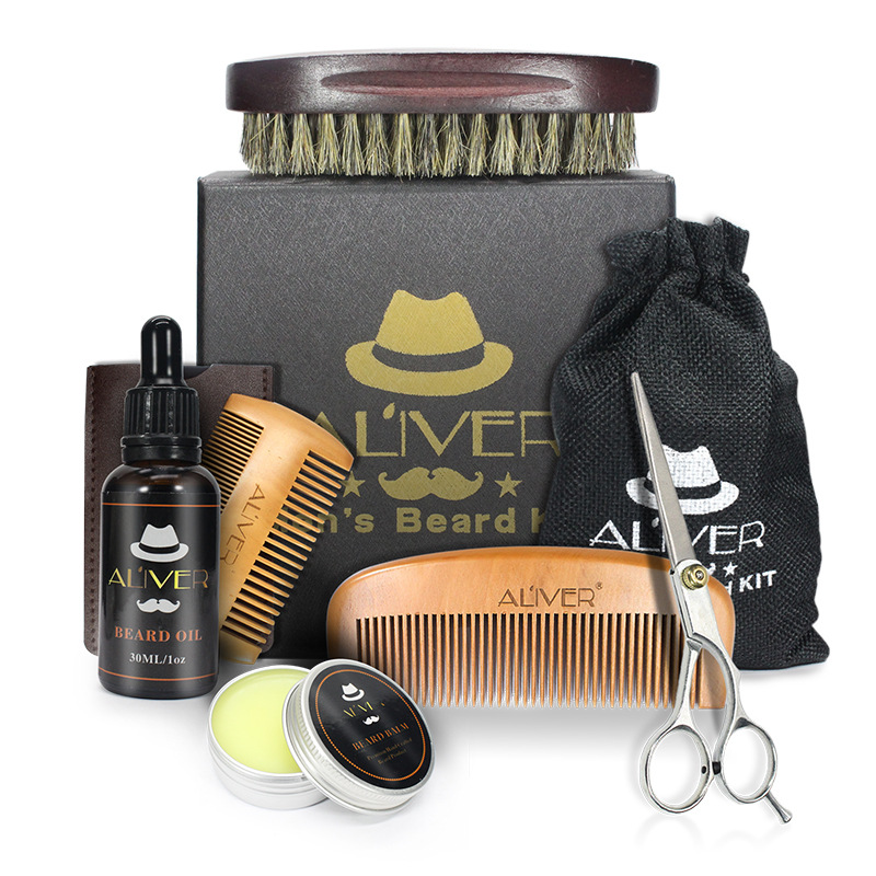 6pcs/set Men Beard Kit Barba Grooming Beard Set Beard Oil Moisturizing Wax Blam Comb Essence Styling Scissors Hair No Box