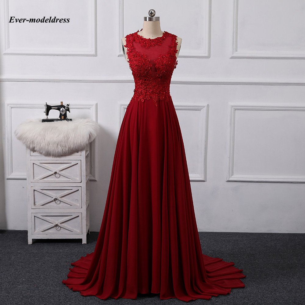 Long Bridesmaid Dresses 2020 Lace Appliques Beaded Sheer Neck Open Back Chiffon Wedding Guest Gowns Maid of Honor Dress Cheap