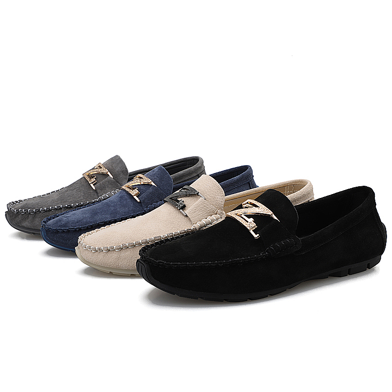 Brand Big Size 38-48 Pig Suede Leather Men Flats Men Casual Slip On Shoes High Quality Men Loafers Man Moccasin Driving Shoes