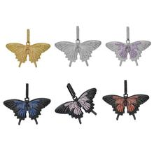 цена на Hip hop  new zircon butterfly pendant colorful butterfly blue and black butterfly pendant hip hop Jewelry