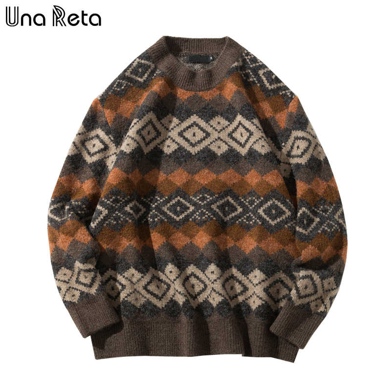 Una Reta  Men's Sweater New Autumn Winter Geometric Print Sweater Pull Homme Casual Loose Vintage Pullover Sweater Men