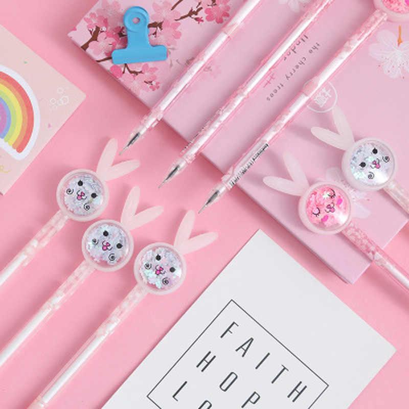 Królik ucho długopis żelowy 0.5mm nowość uczeń długopisy żelowe piękny Cartoon pisanie długopisy biurowe Kawaii długopis Kawaii szkolne