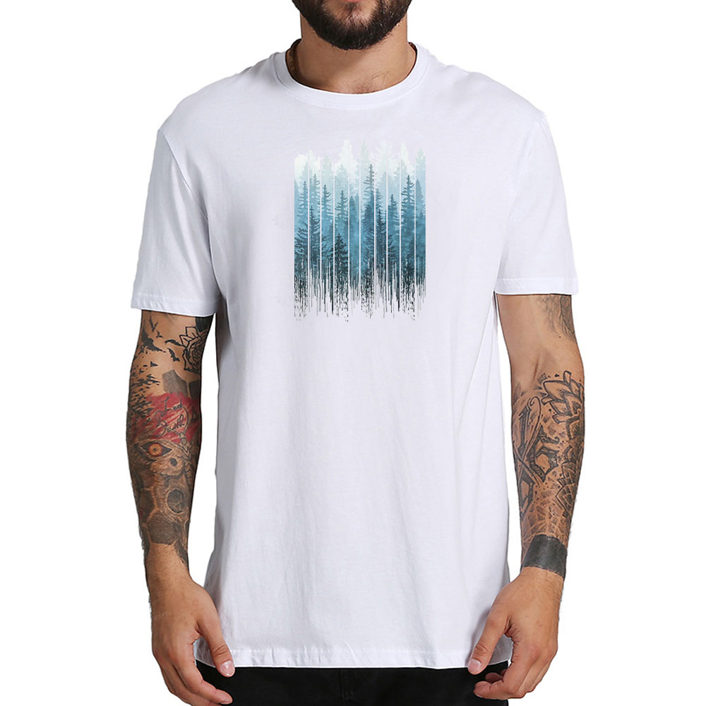 Hot Sale Summer Mens Short Sleeve Top Tee Shirt O-neck Funny Print Blue Science Fiction Forest Shirt For Man M-4XL