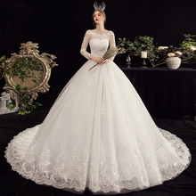 lace applique long train Plus size Wedding Dresses Embroidery sweetheart bride dress White with Sleeve Muslim Wedding Gowns stoc