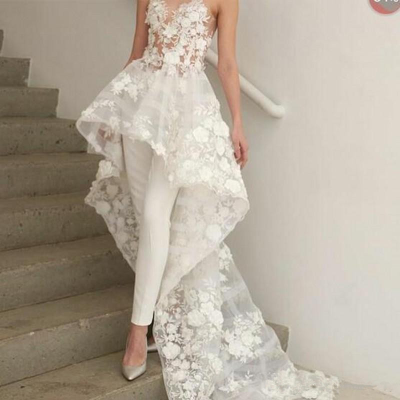 Sexy New Bohemian White Jumpsuits Wedding Dresses Long Train 2019 Sweetheart Lace 3D Floral Appliques Bridal Gown No Pants