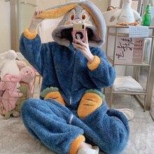 Women Sleepwear Nonopnd Winter Pajamas Loose Version One-Piece Cartoon Plush Hooded Nightgown Plus Size