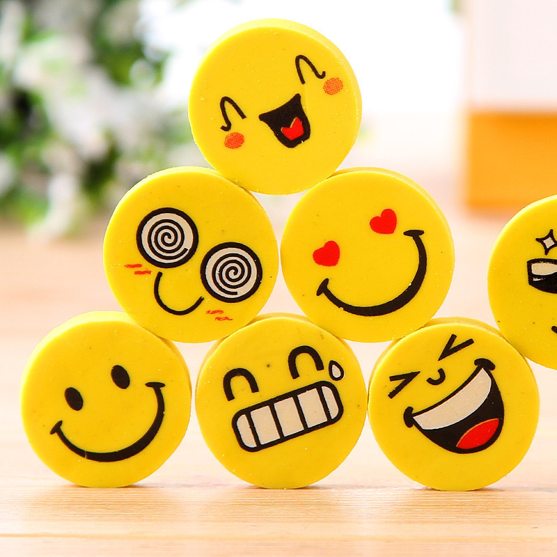 144pcs/lot  Cute Lovely Smile Eraser Cartoon Face Rubber Creative Kids Gift For School Supplies G162