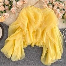 Fairy Goddess Tops 2021 Summer Autumn New Women's Multi-Layer Ruffled Chiffon Shirt Girls Lady's Blouses Crop Top