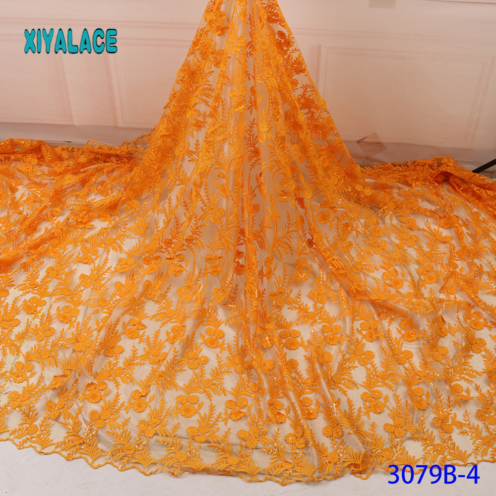 Yellow Embroidered Nigerian Lace Fabric High Quality 2019 African Lace Fabric French Lace Fabric Wedding Party Dress YA3079B-4