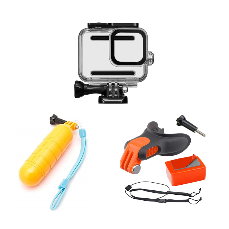 Waterproof Housing Case Handle Float Grip Teeth Holder Mount Mouth  For Go Pro Hero 8 Black  Accessories Kit For Go Pro Hero8