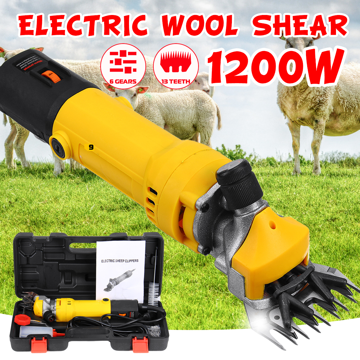1200W Electric Sheep Shear Clipper Wool Goats Livestock Trimmer Grooming 220V