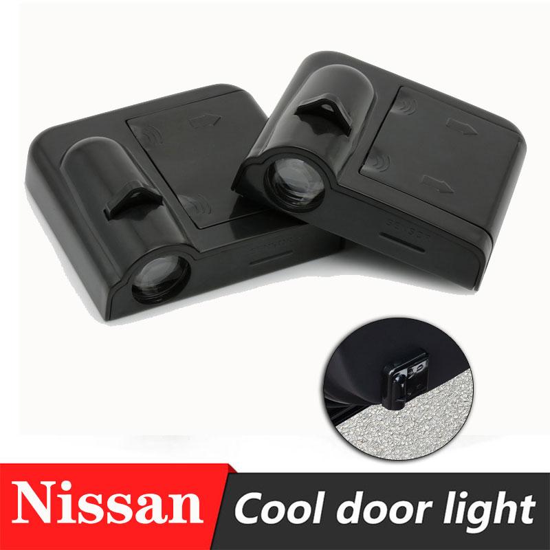 Lâmpada projetora de logotipo de porta de carro, 2 peças, luz de porta sem fio para nissan qashqai j10 juke almera x-trilha