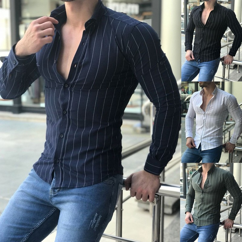 ZOGAA Plus Size S-3XL Men Shirt Long Sleeve Casual Slim Fit Dress Shirt Male Solid British Style Summer Tops Mens Striped Shirt