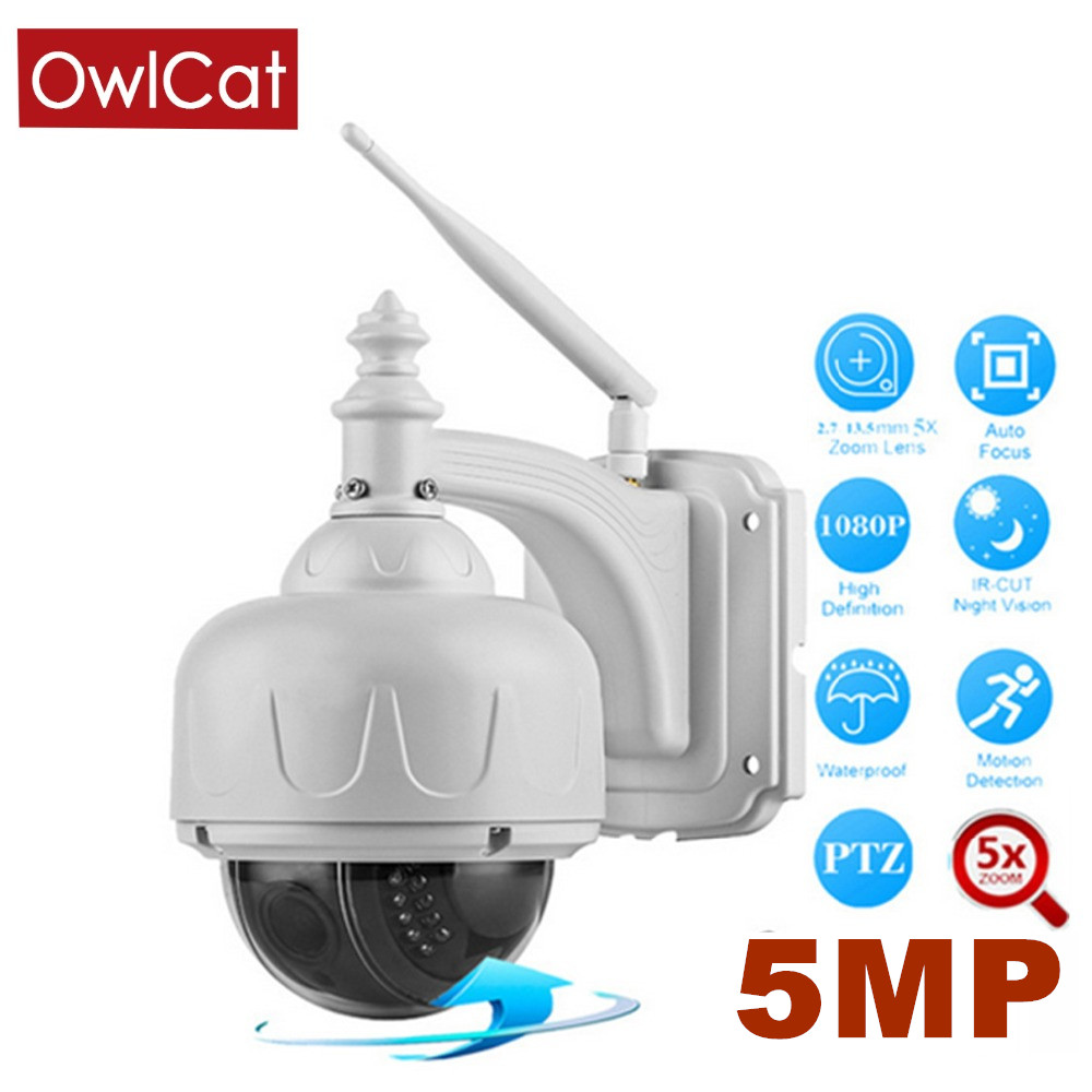 OwlCat Full HD 2MP 5MP PTZ Cámara IP Wifi Exterior inalámbrico Pan / Tilt / Zoom 2.7-13.5mm 5X Zoom Tarjeta SD ONVIF P2P Audio Mic Speaker