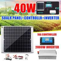 2000W Solar Powered Energy System 40W Dual USB Solar Panel With 10A Solar Controller 2000W Power Inverter Home System Kit
