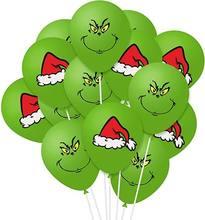 10 pçs/lote o grinch como o grinch roubou natal látex balão decoração festa suprimentos crianças brinquedos chapéu feliz natal 12 polegada