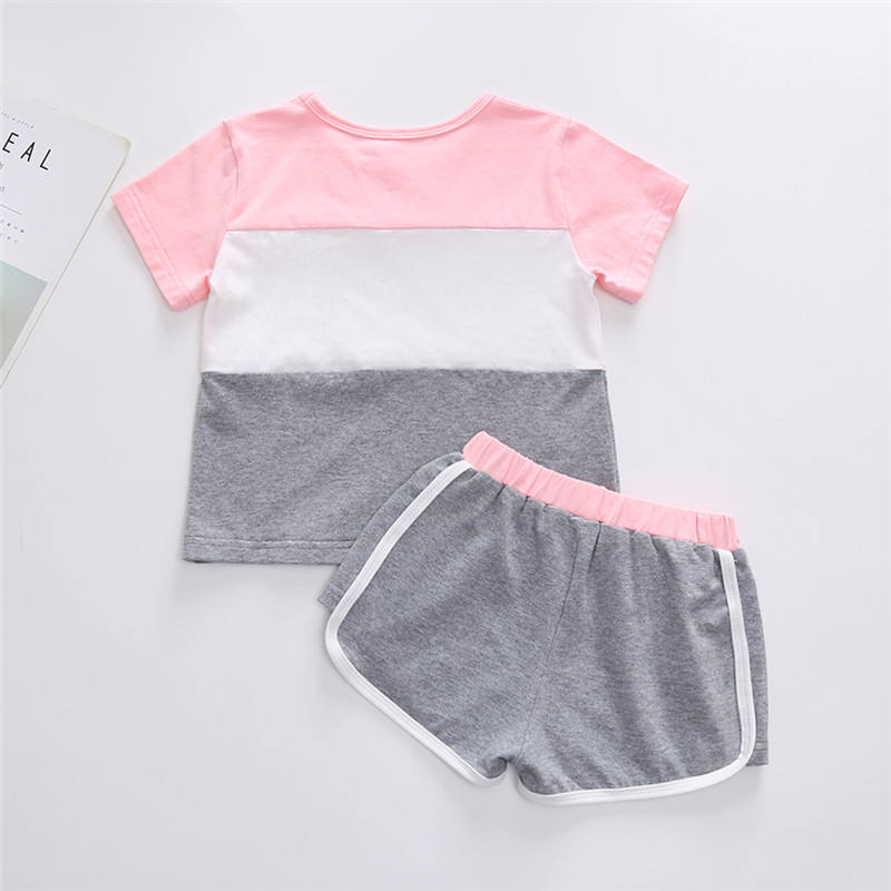 1 5Y short sleeve t shirt top and short pants summer girl set cotton toddler girls clothing sets kids girl sport outfits in Clothing Sets from Mother Kids