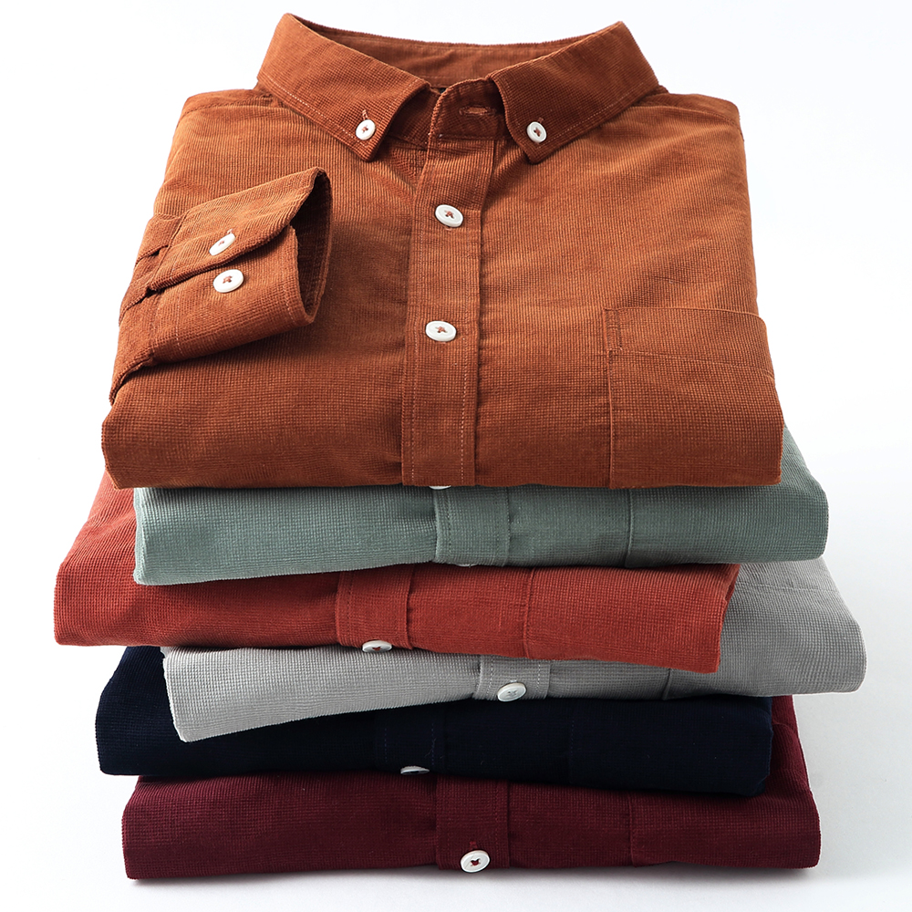 Casual Mens Corduroy Shirt Pure Cotton Long Sleeve Brown Thick Winter XXL Regular Fit New Model Male Button Down Shirts 1