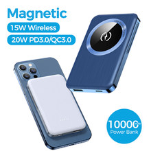Magnetic wireless power bank 15W QI wireless charger 10000mAh power bank for iPhone 12 Pro MagSafe portable mini mobile battery