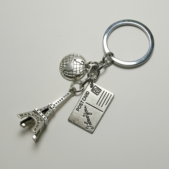Earth key chain I'm going to travel Memorial gift postcard Eiffel Tower keychain car pendant jewelry image