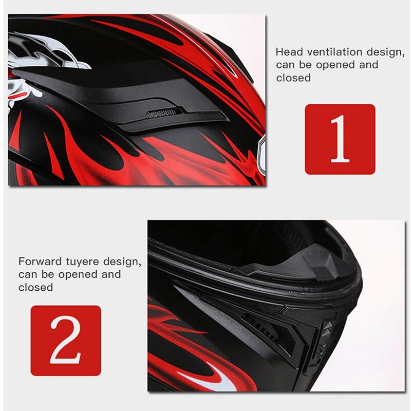 Motorhelmen Flip Up Integraalhelm Universele Man Womanskeleton Stickers Dual Lens Vier Seizoenen Veiligheidshelm - 3