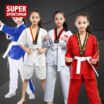 BATA DE Dobok de Taekwondo para niños, uniforme de Karate para niño y niña, ropa de entrenamiento, pantalones de gimnasio para Fitness, Wushu Sanda