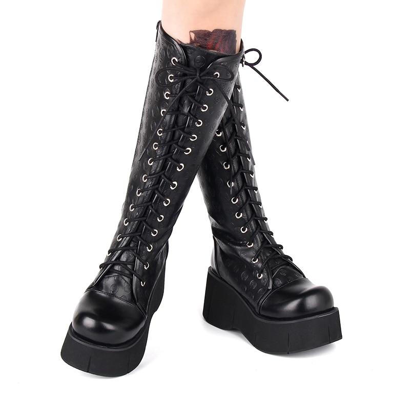 Moda inverno mulher gótico lolita crânio imprimir cunhas boot plataforma de espuma feminina sapatos de salto alto rua punk botas na altura do joelho
