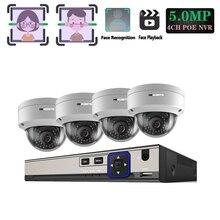 Câmera de segurança para gravação facial, 5mp, sistema cctv, no exterior, câmera ip dome p2p conjunto de vigilância