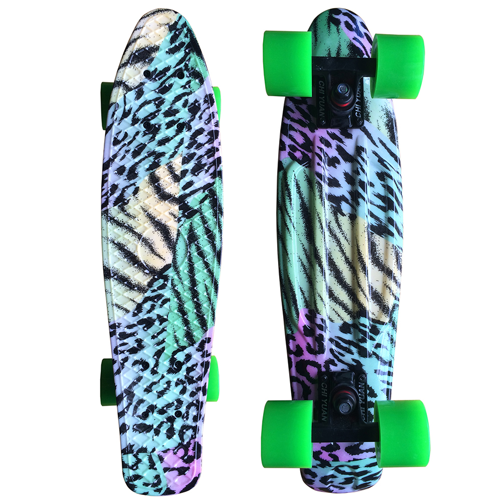 CHI YUAN Colored Leopard Graphic Printed Mini Cruiser Plastic Skateboard 22