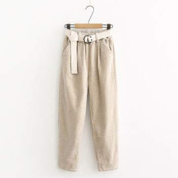 Corduroy Pants Harem Pants Autumn Winter Women Pants Elastic Waist Sashes Casual Black Trousers pantalones mujer cintura alta 4