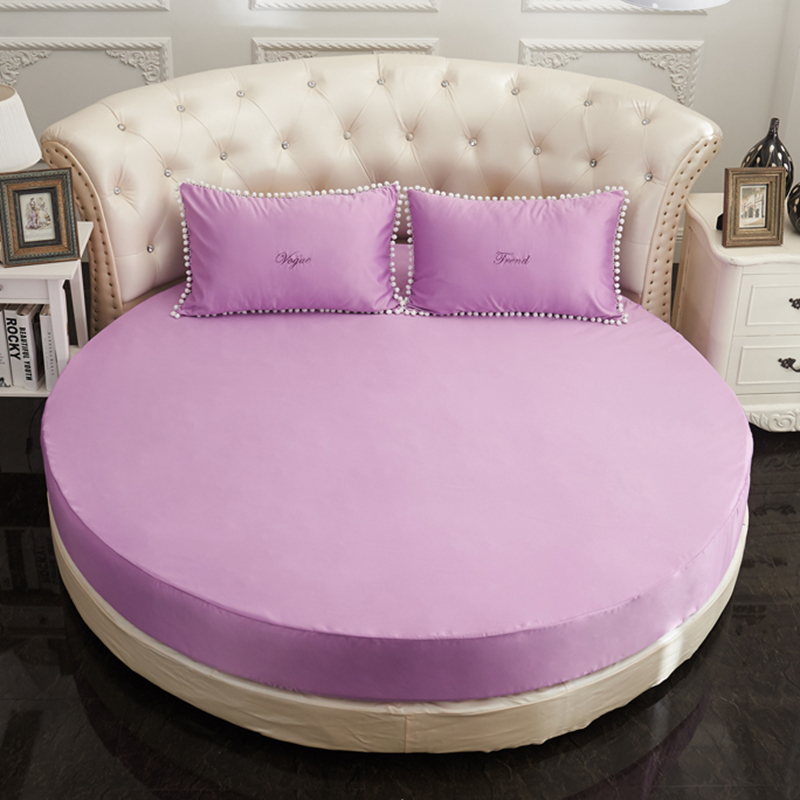 Drap-housse rond romantique couleur unie drap de lit rond ensemble de literie couvre-matelas Topper thème hôtel taille personnalisée # sw