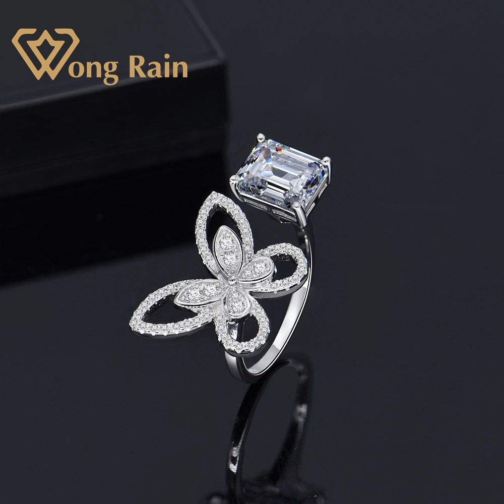 Wong Rain 100% 925 Sterling Silver Created Moissanite Citrine Gemstone Wedding Engagement Butterfly Ring Fine Jewelry Wholesale