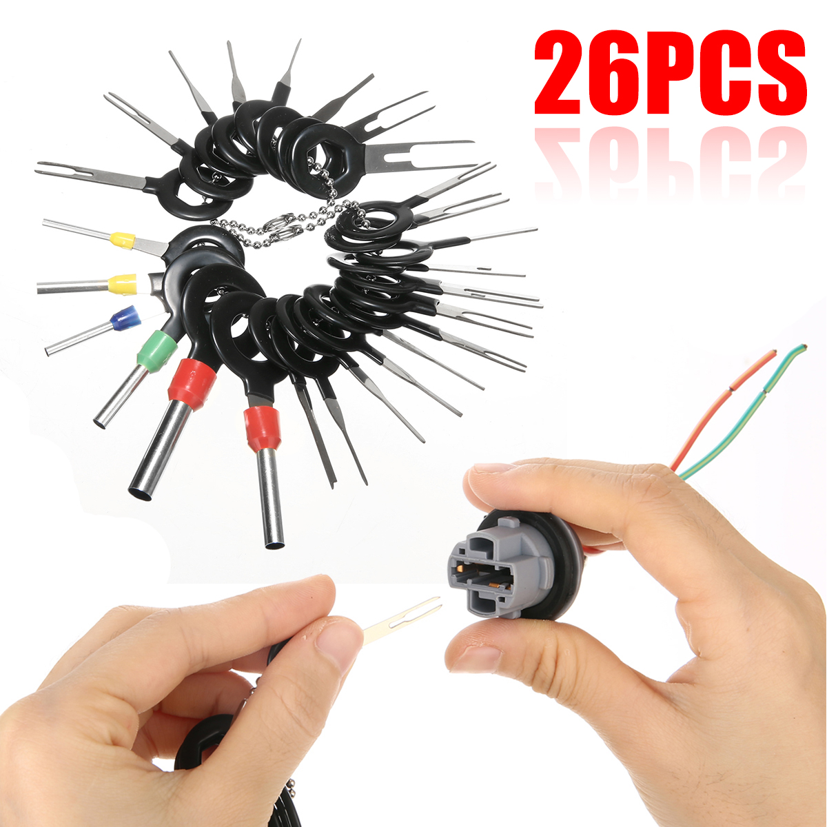 Image 5 - 26pcs Stainless Steel Car Terminal Removal Tool Wiring Connector Extractor Release Pin Repair Tools Kit-in Stylus from Automobiles & Motorcycles