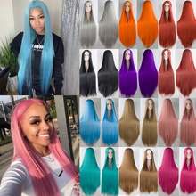 Длинные прямые Косплей парик черный фиолетовый черный красный розовый синий темно-коричневый 100 см синтетические волосы парики BUQI
