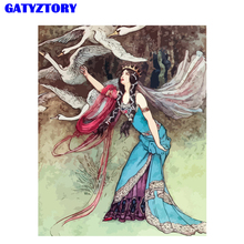 цена на GATYZTORY Frame Swan Women DIY Painting by numbers Kits Modern Wall Art Canvas Painting Unique Gift For Living Room Home Decor