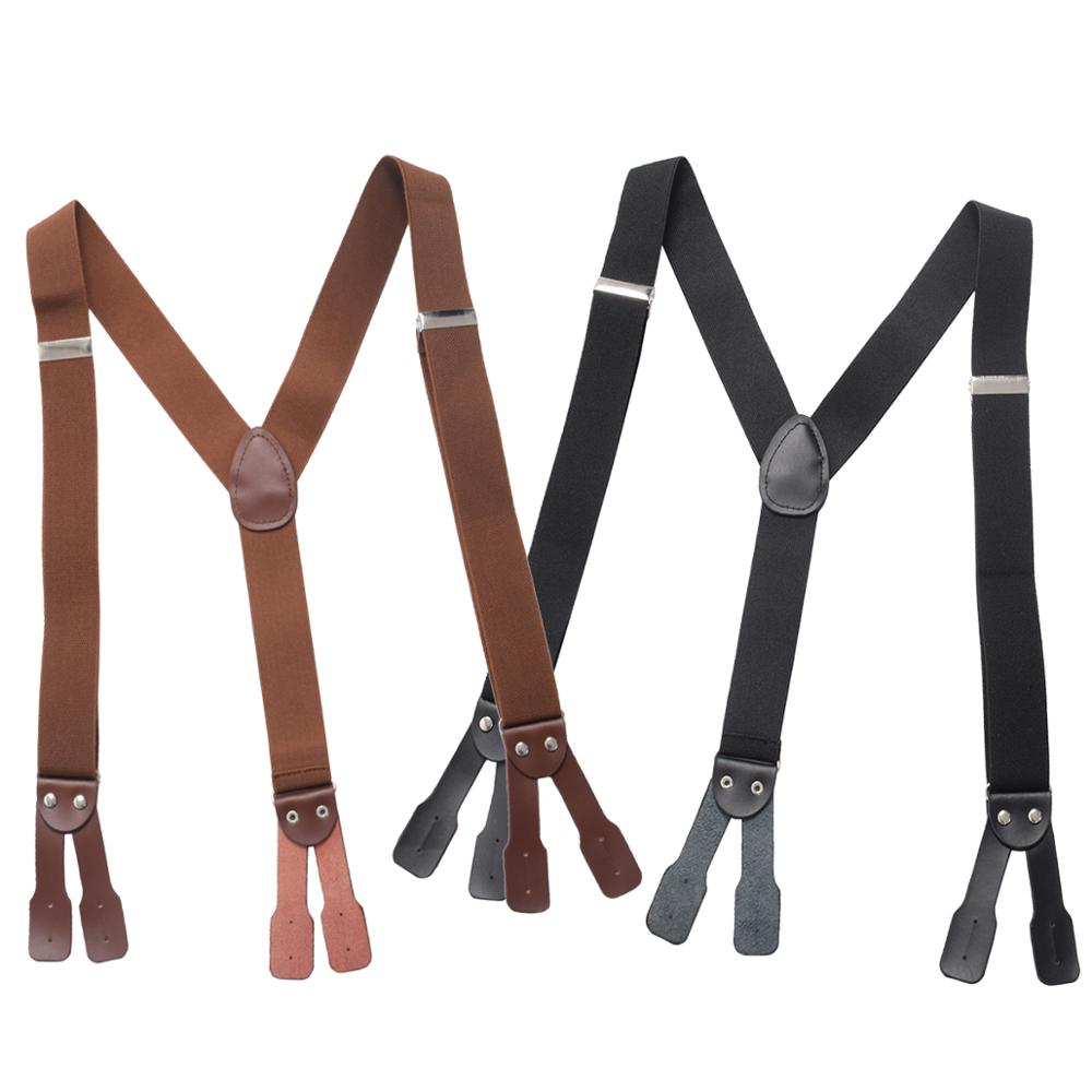 Suspenders For Men Leather Button End Elastic Tuxedo Y Back Mens Pants Braces