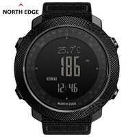 North Edge Men กีฬานาฬิกากันน้ำกันน้ำ 50M LED นาฬิกาดิจิตอลนาฬิกาผู้ชายนาฬิกาทหารเข็มทิศความสูงบารอมิเตอร์