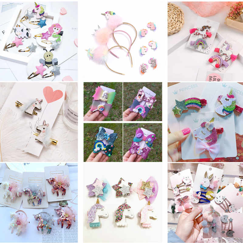 1 Set Retail Rainbow Glitter Unicorn Hair Clip Set Cartoon Animal Sequins Girls Hairpin Accessories Princess Headdress Clips