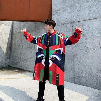 Men Loose Streetwear Hip Hop Casual Long Cardigan Jacket Windbreaker Male Funny Print Fashion Trench Coat Outerwear Overcoat