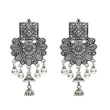 Vintage Oxidized Silver Gold Earring Flower Big Jhumka Jhumki Earrings With Bells for Girl India Tribal Afghan Egypt Jewelry(China)