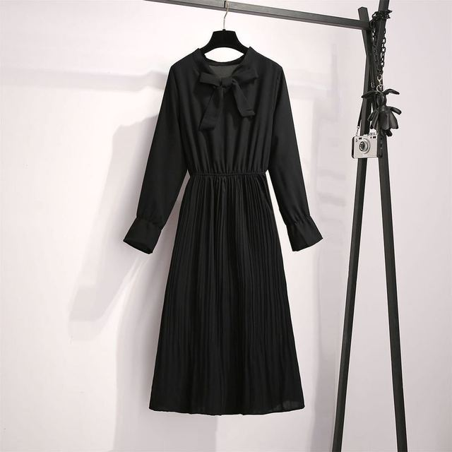 2020 New Girl Style One Piece Suit Dress, Women's Autumn and Winter Show Thin Long Sleeve Pleated Medium Length Shirt Dress 4